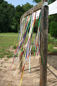 Prayer Ribbons blowing in the wind